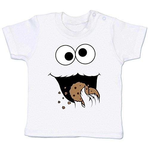 und Fasching Baby - Keks-Monster - 18-24 Monate - Weiß - BZ02 - Babyshirt Kurzarm (Mädchen Ernie Kostüm)