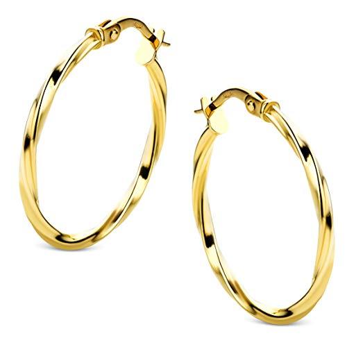 Orovi - Pendientes de aro de oro amarillo de 18 quilates (750)