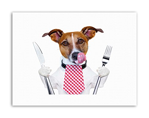 HUNGRY JACK RUSSELL DOG KNIFE FORK Picture Canvas art Prints
