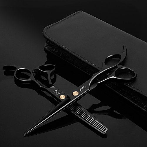 """Tijeras de Peluquería Barbero Profesional - Tijeras 6.0"""" del Corte Acero Inoxidable 6CR para Peluquero y Salón de Corte de Cabello - Color Negro"""