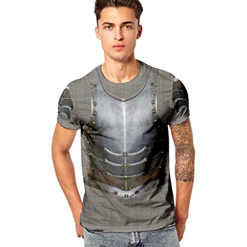 Price comparison product image YEBIRAL T Shirt Men Tops for Men Funny Vehicle 3D Printing Fitness Elastic Short Sleeve Blouse Black
