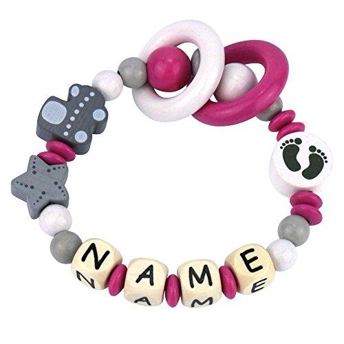 Premium Greifling mit Namen HOLZ Rassel Modell Babyexpress pink mit Glöckchen