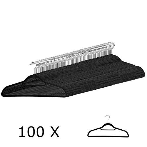 100 Anzugbügel Kleiderbügel mit rutschfester Samt-Oberfläche