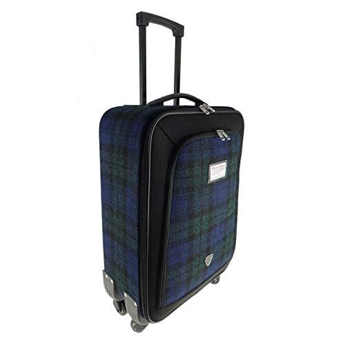 Authentic Harris Tweed Trolley Reisetasche schwarz/Schottenmuster 50x35x18 cm -
