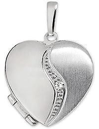 Clever joyas plateado colgante medallón como Corazón Mate y brillante, Arco Curvado con un Circonita Plata de ley 925