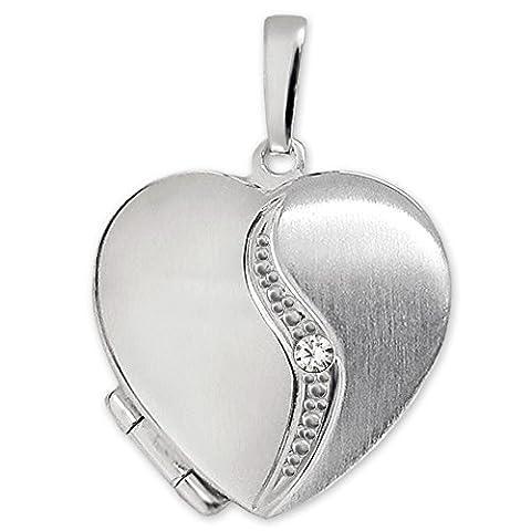 CLEVER SCHMUCK Silberner Anhänger Medaillon als Herz matt und glänzend, geschwungener Bogen mit einem Zirkonia STERLING SILBER (Sterling Silber Diamant-medaillon)