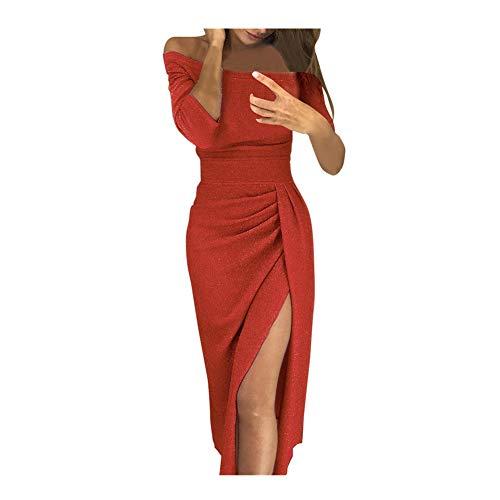 iHENGH Damen Frühling Sommer Rock Bequem Lässig Mode Kleider Frauen Röcke Weg von der Schulter hohe geschlitzte, figurbetontes Kleid Langarm Kleider(Wassermelonenrot, S)