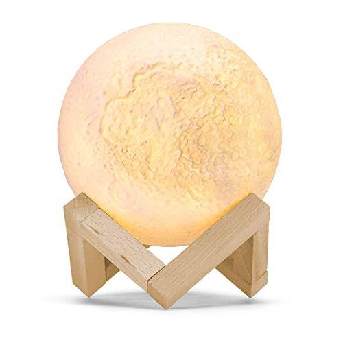 LED Mond Lampe Nachtlampe,GreenClick Luna 3D USB Aufladbar Mond Lampe,3 Farben Dimmbare Helligkeit Tischlampe mit Holz Dock,Wunderbare Dekoration Geschenk für Kinder Baby Freundin Familie Weihnachten