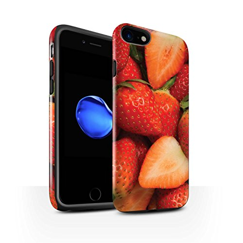 STUFF4 Glanz Harten Stoßfest Hülle / Case für Apple iPhone 8 / Wassermelone Muster / Saftige Frucht Kollektion Fraise/Geschnitten