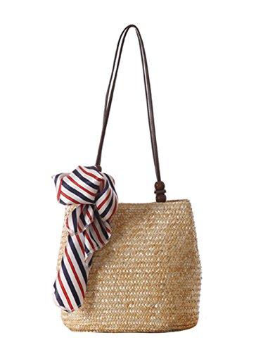 Strand Tasche Tote Handtasche (Butterme Frauen Strand Schultertasche Sommer Stroh Tote Strand Tasche Einkaufen Handtasche Hobo Handtasche)