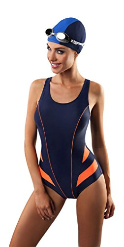 Damen Endurance Badeanzug One Piece Badeanzug Badebekleidung Gr. 44, Navy-ORANGE
