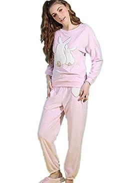 DMMSS Delle ragazze delle donne 'caldo d'inverno carino casa morbida flanella fumetto 2-pigiama pezzo set , figure...