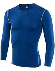 Entrenamiento apretado de los hombres que se divierte aptitud que corre la manga larga que sudaba la camiseta de manga larga , blue , xxxl