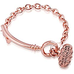 Disney Couture de Alicia en el país de las maravillas curvado chapado en oro rosa clave pulsera