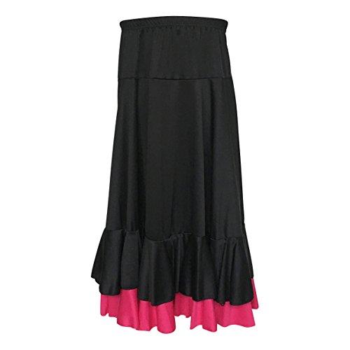 La Señorita Flamenco Rock Kinder Spanische Kleider schwarz rosa 2 volants (Größe 8, 116-122, Länge 65 ()