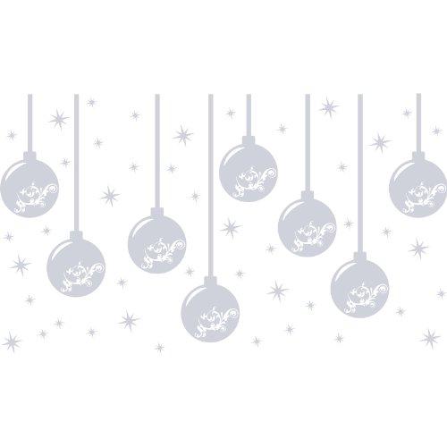 Christbaumkugel aufkleber (8 x 10 cm), 48 Stück sterns (16 x 5 cm, 32 x 2.5 cm) Farbe Metalic Silber Christbaumkugeln, Christbaumkugel, Christbaum Kugel, Weihnachten stern, Schneeflocke, Weihnachtsbaum, Wandaufkleber, Wandtattoo, Fenster Aufkleber, Fensterbildtattoo, Ornaments, Decals, Vinyl Aufkleber art ThatVinylPlace