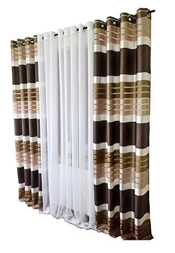 FK-Lampem Blickdicht Ösenvorhang Ösenschal Schal Dekoschal für Fenster Dekorative Gardine viele Farben Streifen 2er Set Vorhänge mit Ösen 145x250 cm GP2 (P3)