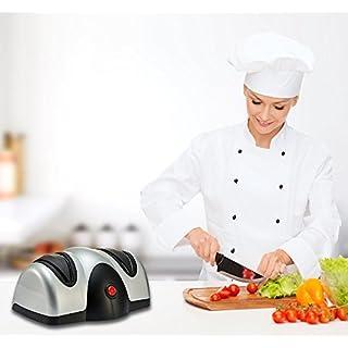 Splink Aiguiseur A Couteau Electrique 2 en 1 Affûteur en Acier Inox. Electric Knife Sharpener Outil de Cuisine Portable - Argenté