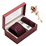 #9: To The Nines Men's Tie, Pocket Square & Cuff links Set and Lapel Pin, Gift Pack for Him