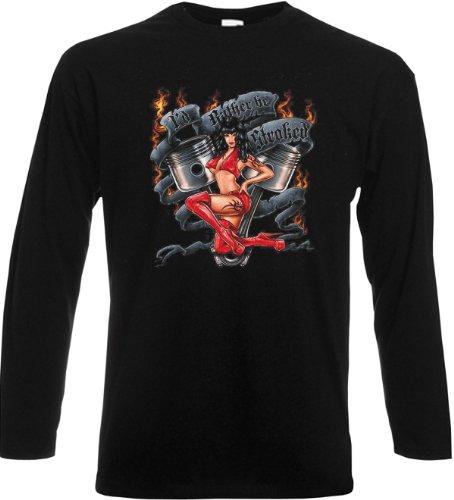 Langarm T-Shirt I'd rahter be stroked Schwarz