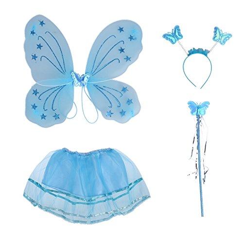 BESTOYARD Kinder Mädchen Fee Kostüme Prinzessin Schmetterlingsflügel Stirnband Zauberstab Tutu Rock Party Kostüm 4-teiliges Set (Tinkerbell Cosplay Kostüm)
