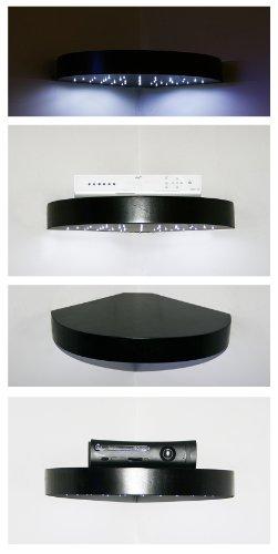 Crafted Storage Sky Box–Mensola ad angolo per Xbox con luci LED, colore: bianco, motivo curvo artigianale, colore: nero