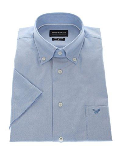 Bots & Bots 167004 Exclusive Collection - Camicia Uomo Manica Corta - Puro Cotone Oxford - Button Down Normal Fit Blu