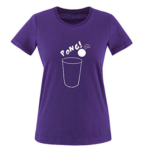 Comedy Shirts - Pong! - Becher - Damen T-Shirt - Lila / Weiss Gr. S (Bier-pong-sprüche)