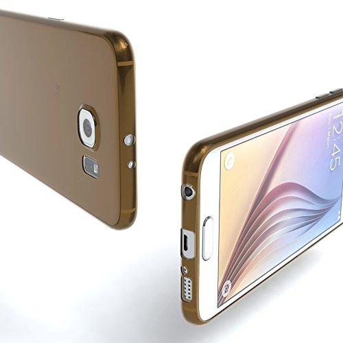 """EAZY CASE Handyhülle für Samsung Galaxy S6 Hülle - Premium Handy Schutzhülle Slimcover """"Clear"""" hochwertig und kratzfest - Transparentes Silikon Backcover in Klar / Durchsichtig Clear Braun"""