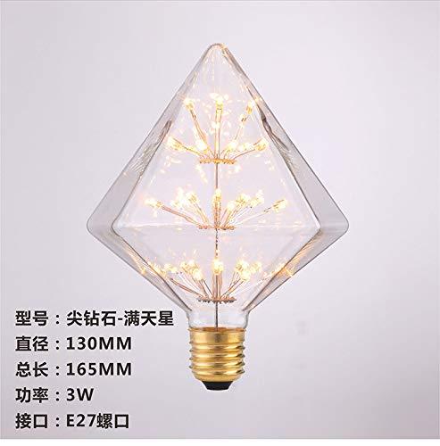 Led-Glühlampen Led-Glühlampenled-Lampen Glühbirnen Bombilla Edison Bombilla Retro Edison Bombilla Estrellada Führte Creativo St64G80G95Led Decoración, Diamante Afilado, E27 -