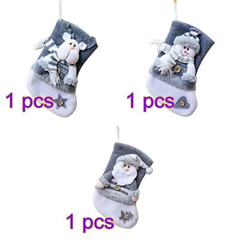 YIREAUD - 3 Piezas de calcetín de Navidad para Colgar en la Chimenea, Calcetines, Medias, decoración...