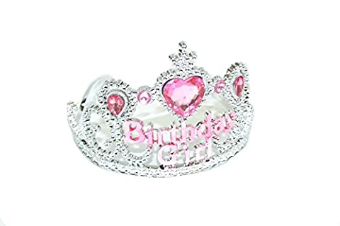 GIZZY® Girls Birthday Girl Silver Effect with Pink Gems Plastic Tiara.