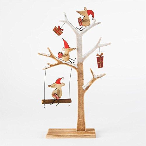 """Weihnachtlicher Zierschmuck Schild """"Mäuse im Christbaum"""" aus Holz"""
