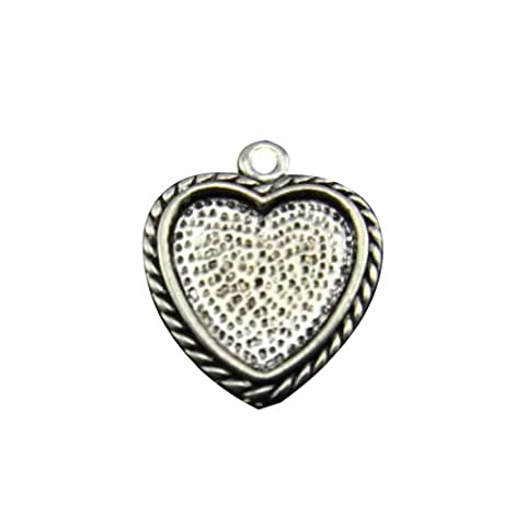 Janecrafts 20pcs Sweet-heart Shaped Pendant Trays-- Glam Antique Bronze Shimmering