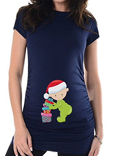 Umstandsshirt Baby Weihnachten, Schwangerschafts T-Shirt, Schwangere, Bedrucktes Umstands t-Shirt für Die Werdende Mama