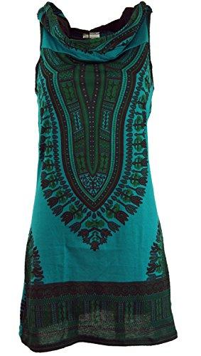 Guru-Shop Kapuzen Dashiki Minikleid, Goa Festivalkleid, Damen, Petrol, Baumwolle, Size:S/M (34/36), Kurze Kleider Alternative Bekleidung
