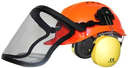 Forsthelm WOODSafe® Orange inklusive Gehörschutz, Klappvisier, Nackenschutz - Schutzhelm für Waldarbeiter nach EN 397