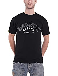 Gas Monkey Garage T Shirt Flaming Custom Builds Logo Oficial de los Hombres