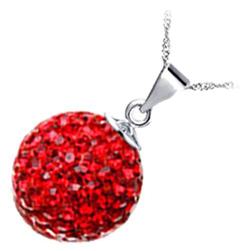 GWG® Sterling Silber Veredelte Anhänger-Halskette für Frauen, Verziert mit Glitzernder, Rubin-Roter Kristall-Kugel