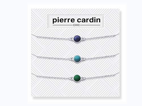 Pierre Cardin PCC7607 Set Damenschmuck Armband 3 Teilig mit einzigartiger Anhänger in Lila, Türkis, Smaragd 16cm