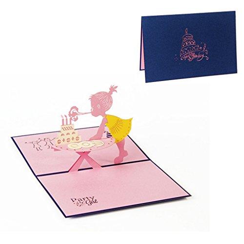 rte, 3D Pop Up Girl Geburtstag Grußkarte Weihnachten Valentinstag Einladung, ()