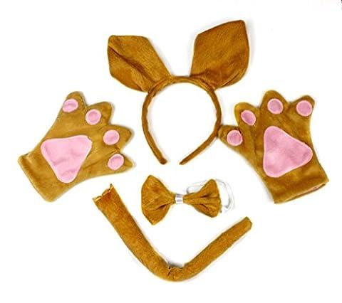 petitebelle Kangourou Bandeau Nœud Papillon Parti Costume Queue Gants pour adulte - marron - Taille