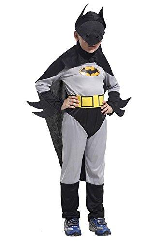 Größe L - 7-8 Jahre - Kostüm - Verkleidung - Karneval - Halloween - Bat Man - Superheld - Farbe Grey - Child - Batman