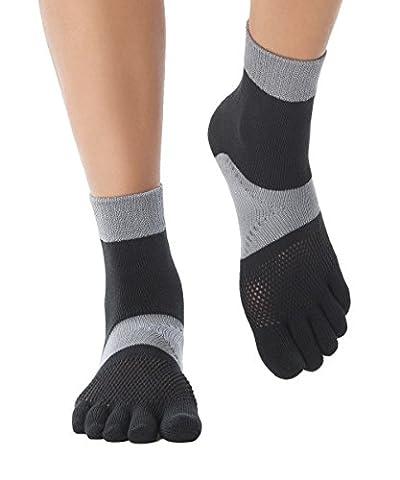 Knitido MTS Explorer - la chaussette marathon robuste | NOUVEAUTÉ ! Chaussettes 5 doigts courtes pour la course à pied, antidérapantes, avec compression sur le métatarse, maintenant plus robustes et avec effet antibactérien., Size:UK 5.5-8;couleurs:Black & Grey