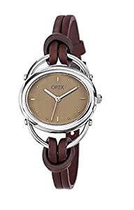 Opex - 2391D1 - Sable - Montre Femme - Quartz Analogique - Cadran Beige - Bracelet Cuir Marron