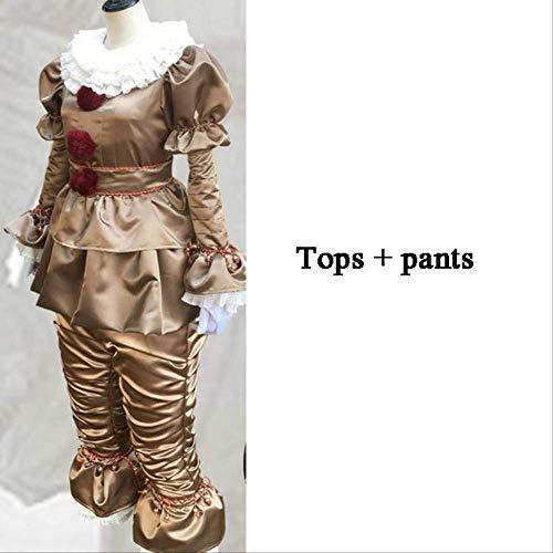 Mann Kopfloser Kostüm Kind - WSCOLL Clown Stephen King 's It Cosplay Kostüm Pennywise Kostüm Erwachsene Männer Frauen Kostüm Fancy Halloween Outfit Anzug Clown-Kostüm, 2pcs Gold, XXX-Large