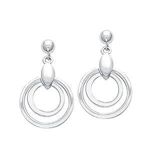 amor Ohrring für Damen 2,5 cm geometrisch 925 Sterling Silber teil-mattiert