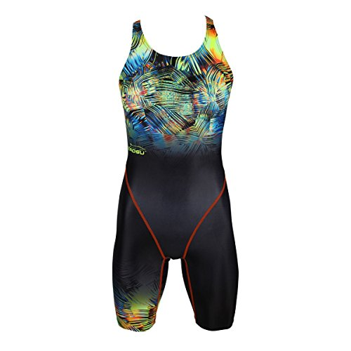ZAOSU Wettkampf-Schwimmanzug Z-Safari - Badeanzug mit Bein für Damen und Mädchen, Größe:140