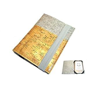 aufklappbare eBook Reader eReader Hülle Wollfilz Kork, Maßanfertigung, z.B. für Tolino Shine 3
