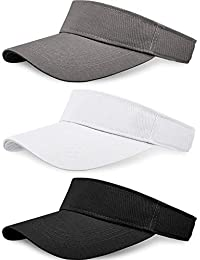 58a2773e 3 Pieces Sun Sports Visor Hats One Size Adjustable Cap for Women and Men